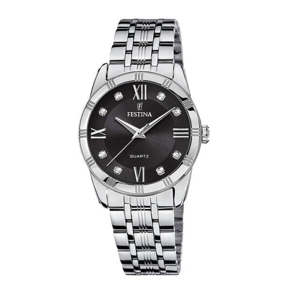 orologio festina donna acciaio quadrante nero zirconi