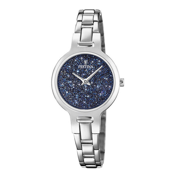 orologio festina donna acciaio quadrante blu swarovski