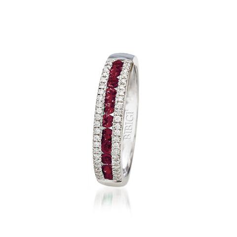 anello fascia oro bianco diamanti rubini