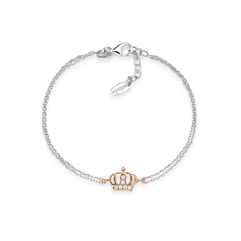 bracciale amen argento corona doppio rosè