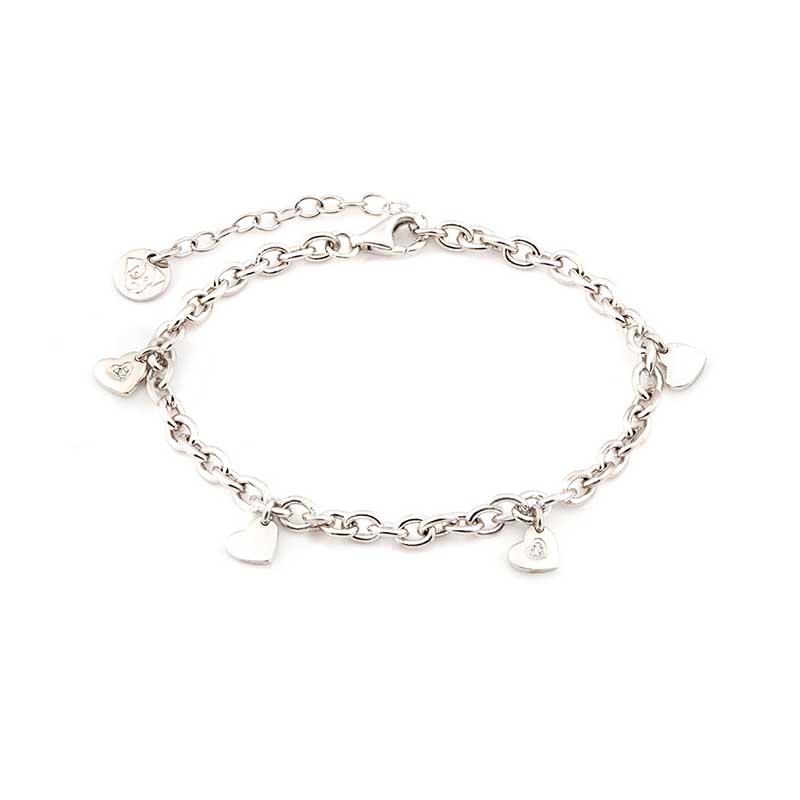 bracciale jack & co argento cuori pendenti