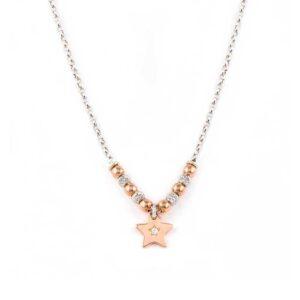 collana jack & co argento sfere boule diamantate stella pendente oro rosa