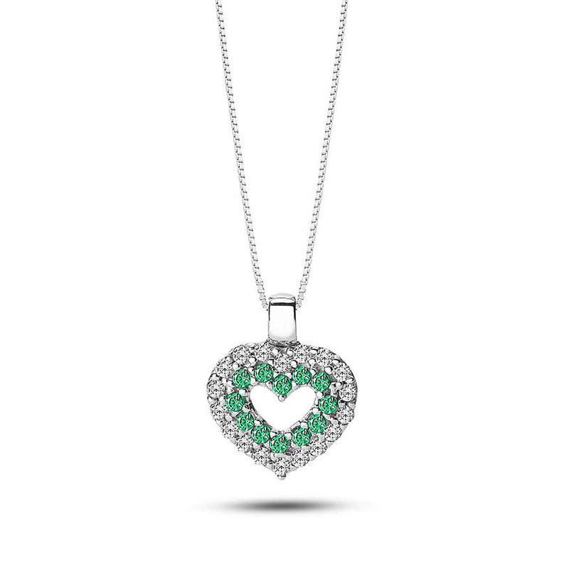collana ciondolo cuore pietre verde