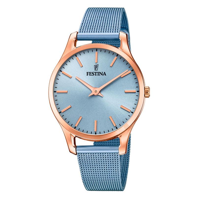 orologio minimal da donna semplice colore azzurro e oro rosa
