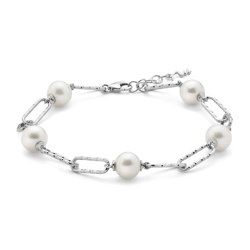bracciale catena argento miluna miss italia con perle