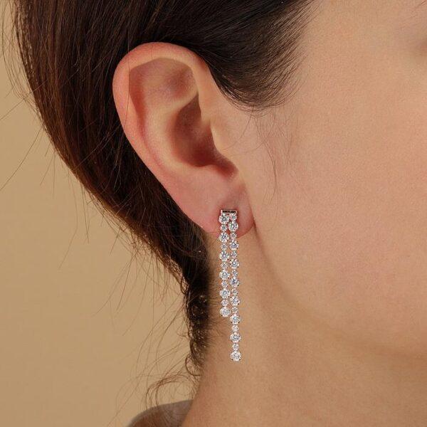orecchini pendenti bronzallure doppi zirconi tennis alternati