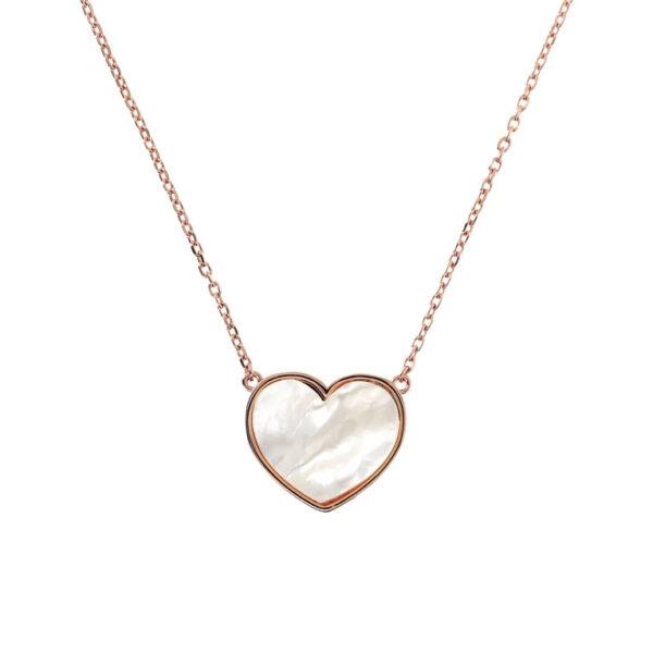 collana bronzallure cuore passante madreperla bianca
