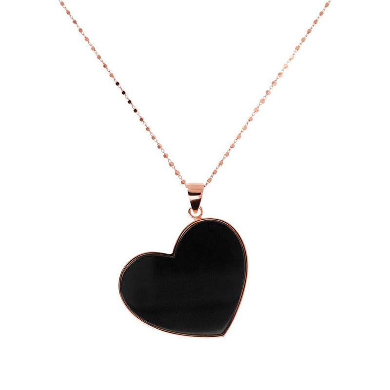 collana bronzallure cuore pendente onice nero