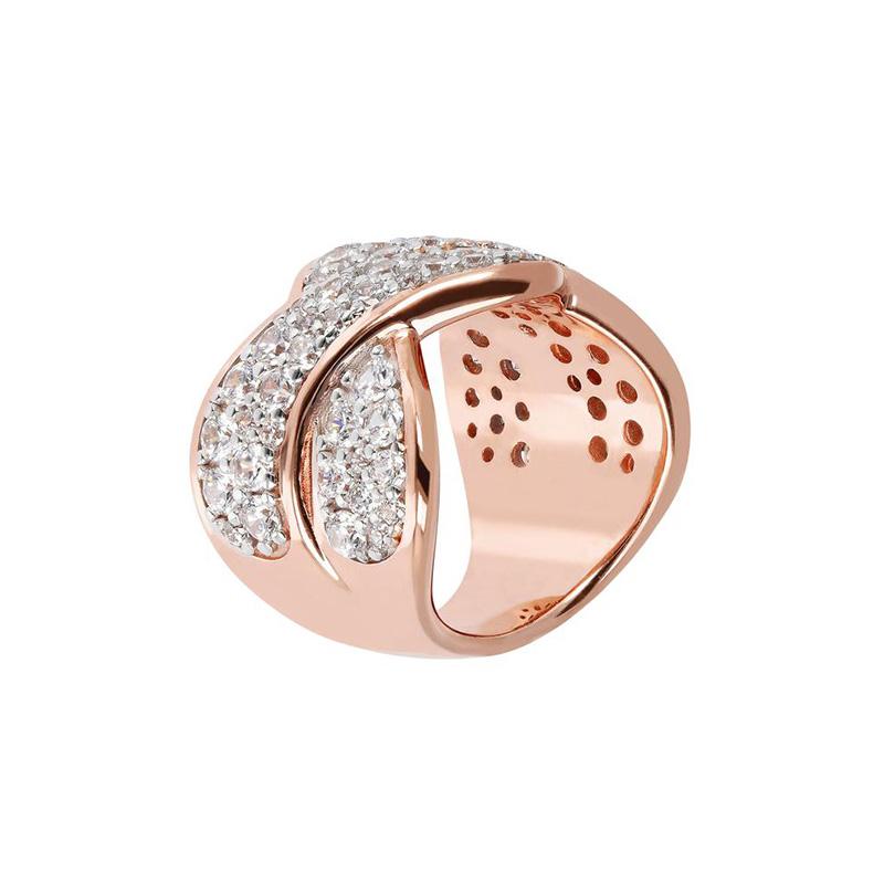anello bronzallure zirconi bianchi intrecciato