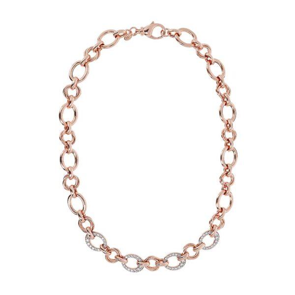collana bronzallure oro rosa maglia catena zirconi bianchi