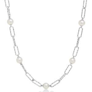 girocollo 5 perle miluna miss itaòia 2020 argento bianco