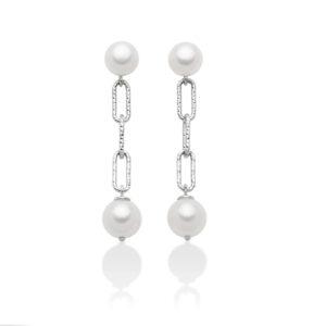 orecchini pendenti in argento con perla miluna miss italia
