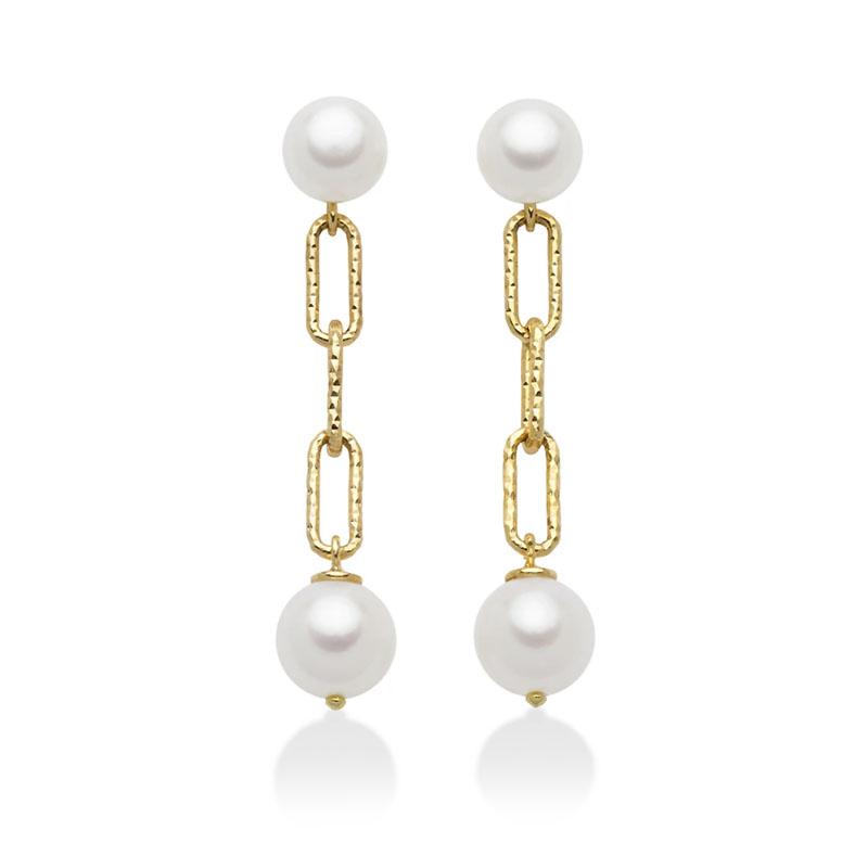 orecchini pendenti placcati oro giallo con perla miluna miss italia