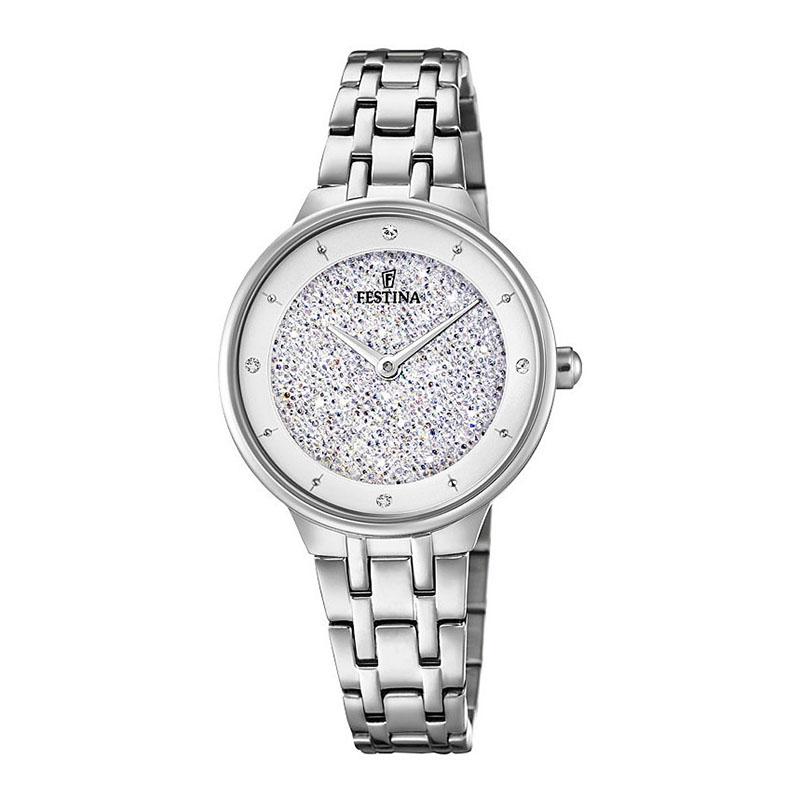 orologio festina donna acciaio swarovski argento