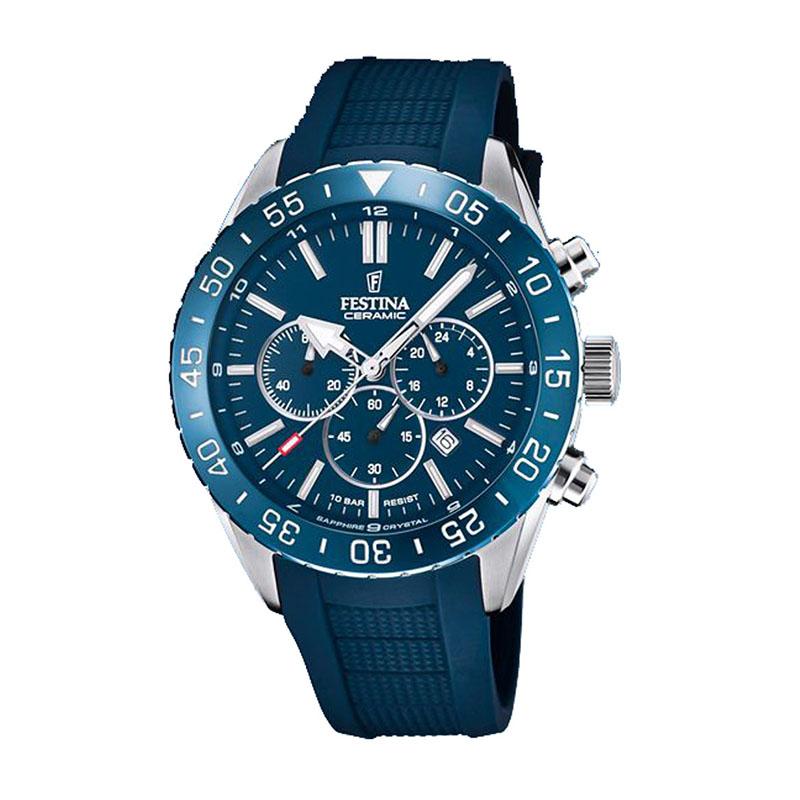 orologio festina uomo ceramica blu chrono gomma