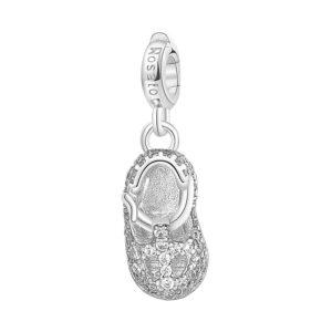 charm rosato gioielli scarpetta nascita argento rodio zirconi