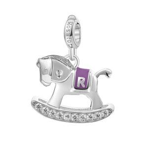 charm rosato cavalluccio dondolo argento rodio zirconi