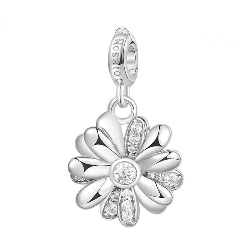 charm rosato gioielli argento rodio zirconi margherita