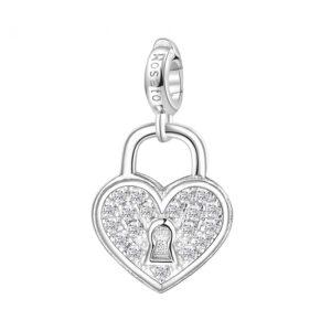 charm rosato gioielli cuore lucchetto argento rodio zirconi