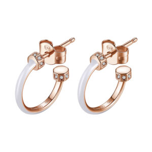 orecchini anelle rosato argento oro rosa smalto bianco zirconi