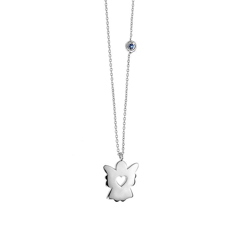 collana comete angelo oro bianco zaffiro cuore glb 802