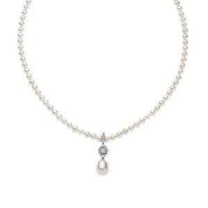 collana filo di perle comete gioielli oro bianco diamanti fwq