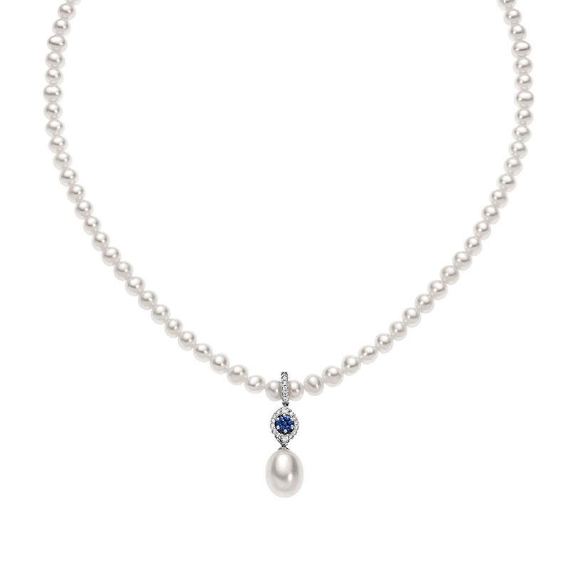 collana filo di perle comete gioielli oro bianco diamanti zaffiri blu fwq