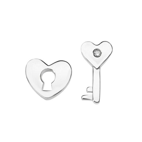 orecchini comete lucchetto chiave cuore