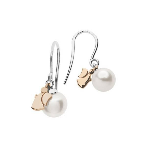 orecchini monachella comete perle bianche angioletto rosa