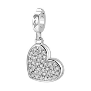 charm rosato cuore pavè zirconi argento rodio