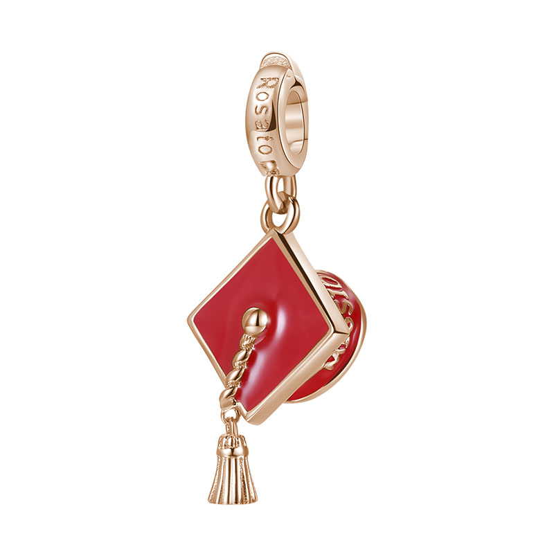 charm rosato tocco laurea rosso argento oro rosa