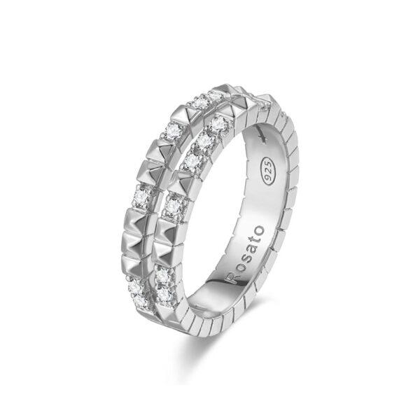 anello rosato argento cubica zirconi doppio