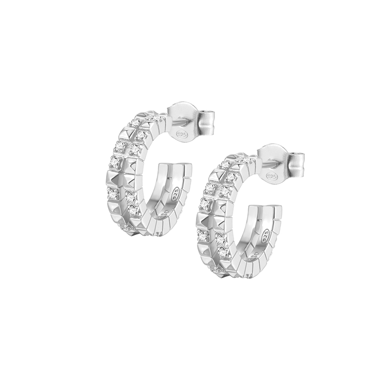 anelle orecchini cerchi rosato cubica argento zirconi