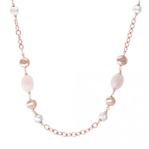 collana oro rosa bronzallure quarzo rosa perle grigie