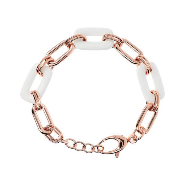 bracciale bronzallure oro rosa maglie agata bianca rettangolare