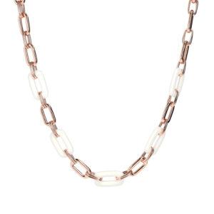 collana bronzallure oro rosa catena maglia rettangolare agata bianca