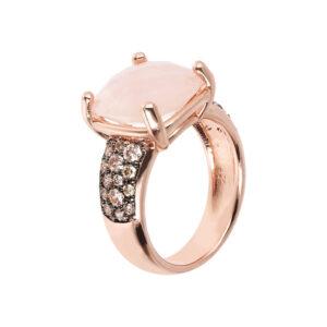 anello bronzallure oro rosa quarzo rosa pavè
