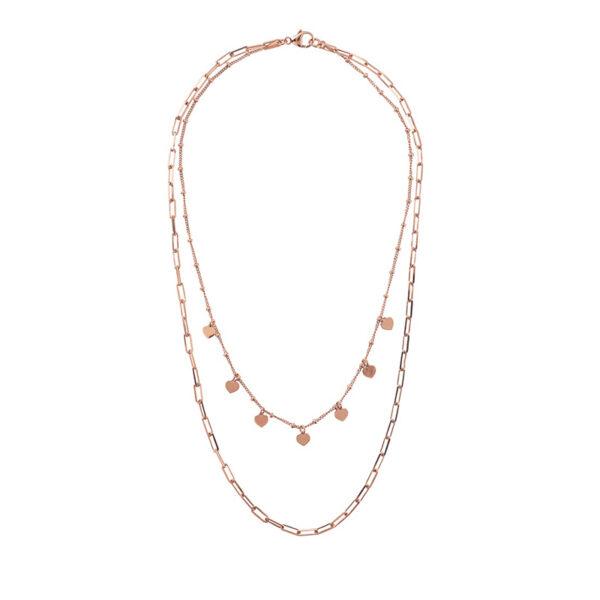 collana doppia bronzallure oro rosa cuori catena rettangolare