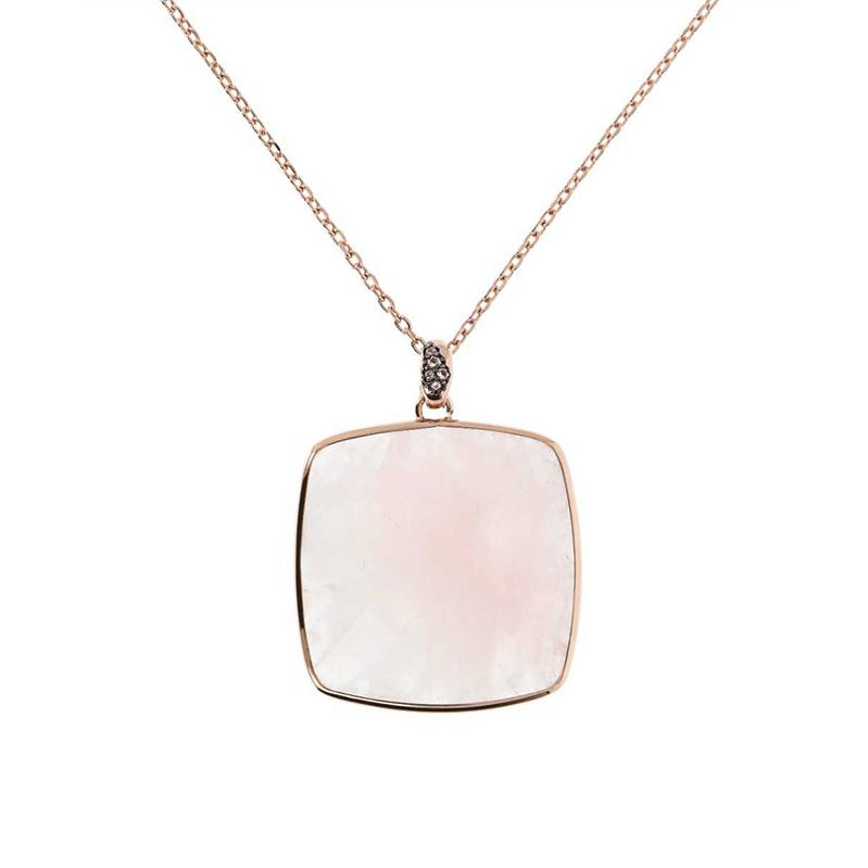 collana bronzallure oro rosa quarzo rosa rettangolare