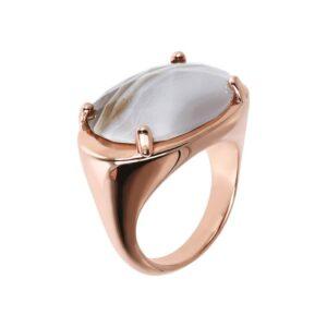 anello bronzallure oro rosa agata bianca ovale