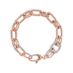 bracciale maglia rettangolare ovale oro rosa bronzallure zirconi pavè