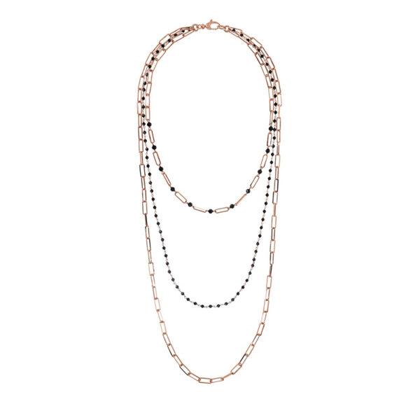 collana bronzallure tripla catena rettangolare cristalli neri
