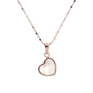 collana oro rosa cuore madreperla bianca