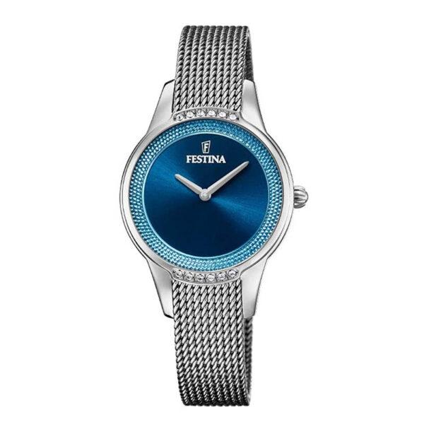 orologio festina maglia milano argento quadrante blu