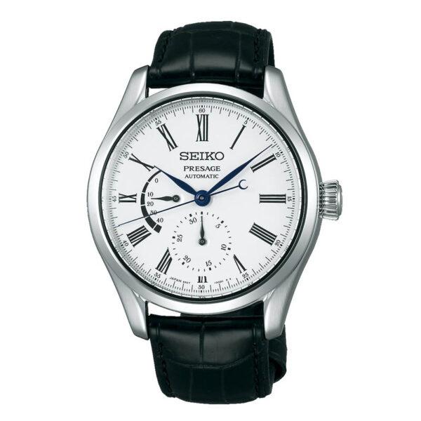 orologio seiko presage automatico acciaio quadrante bianco cinturino nero coccodrillo
