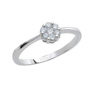 anello fiore solitario oro bianco diamanti