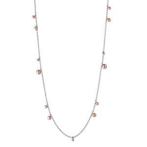 collana lunga argento bollicine oro rosa