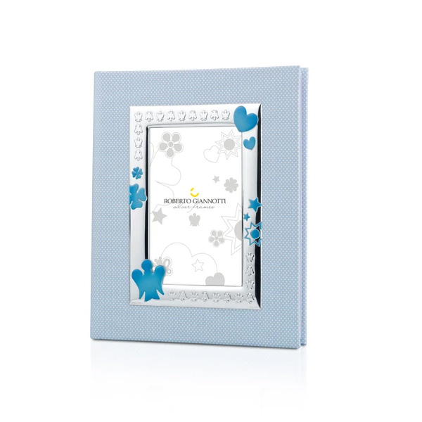 album foto azzurro bimbo con cornice angelo