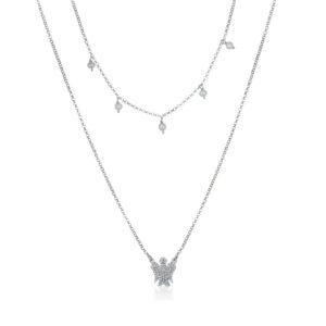 collana girocollo argento con angioletto e perle