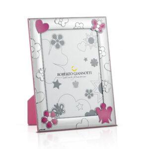 cornice argento con angelo rosa bambina